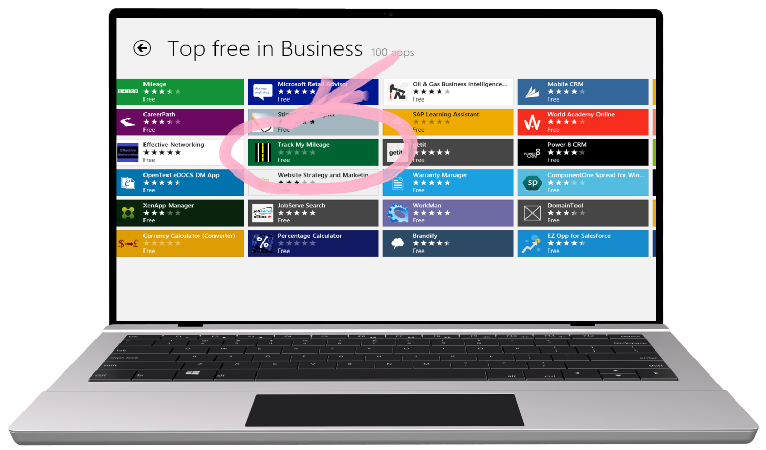 Top Free In Business Section of Windows Store